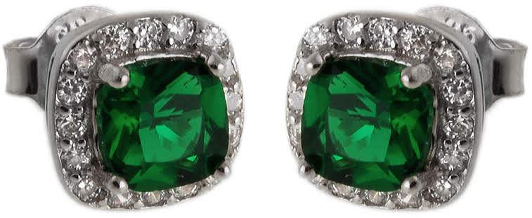 Srebrne kolczyki 925 zielona cyrkonia 1,9g