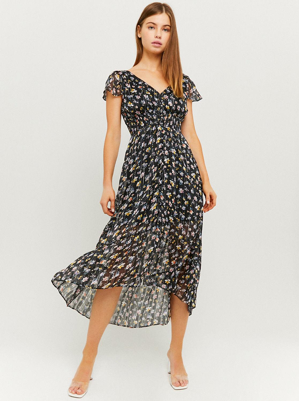 Tally Weijl czarna midi sukienka kwiecista