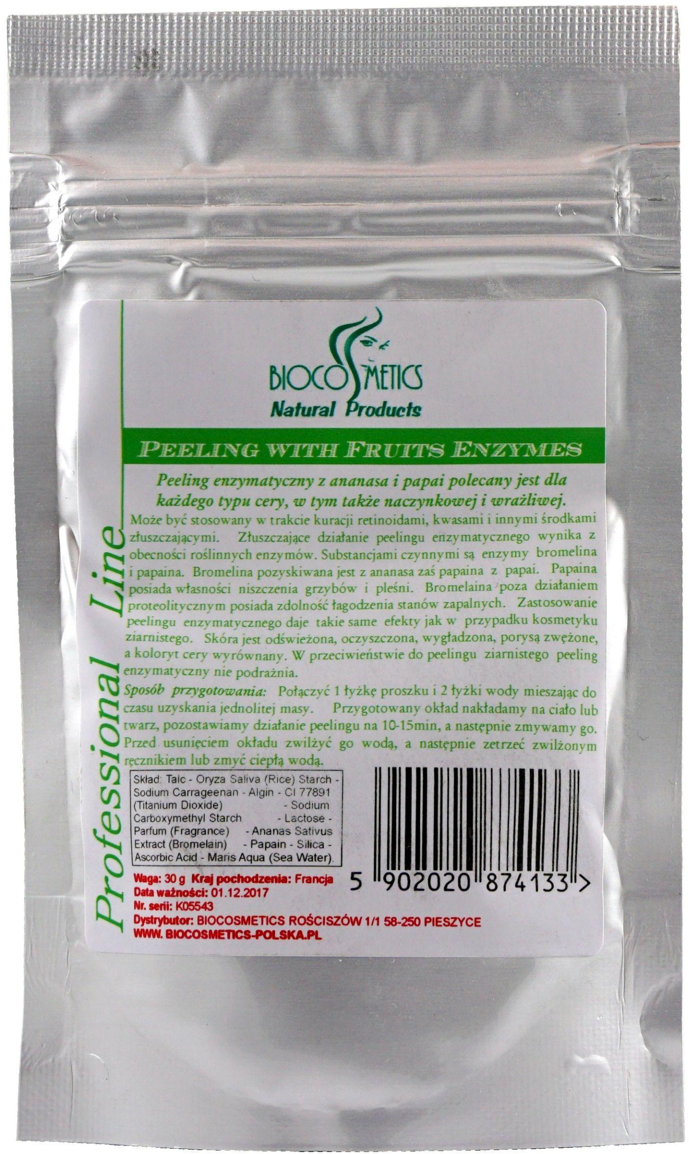 Owocowy peeling enzymatyczny z papainą i bromeliną - 30g - Biocosmetics