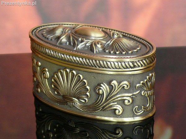 Szkatułka owalna stare złoto