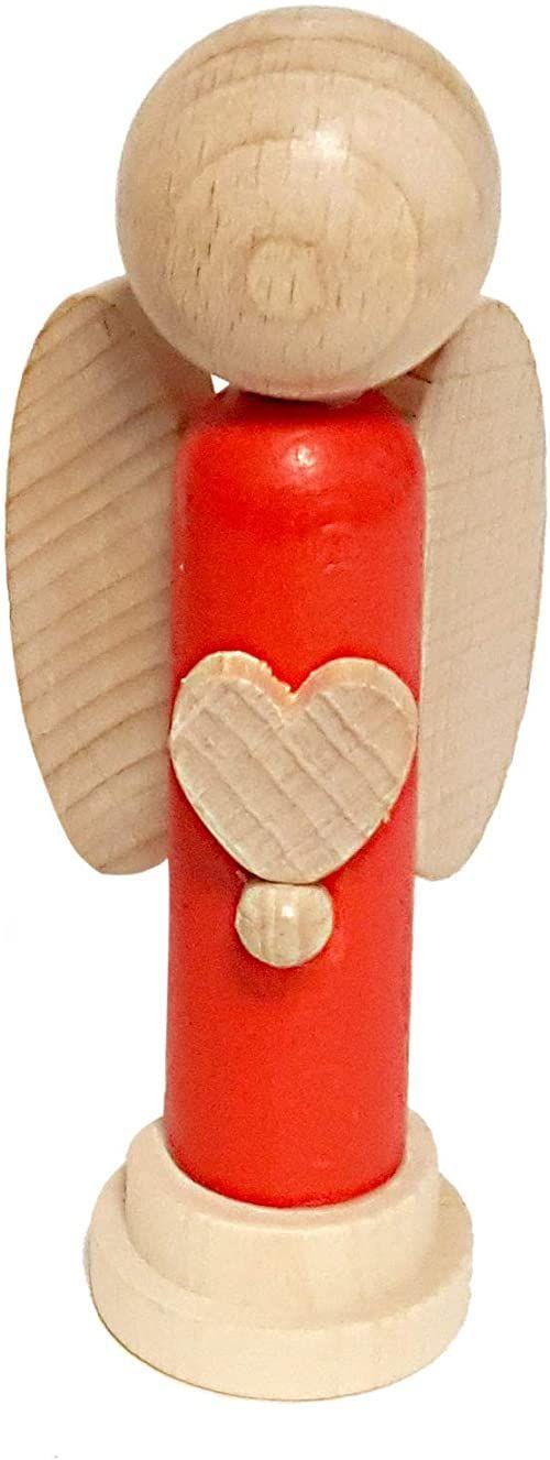 Hess Holzspielzeug 40041 - figurka anioła z drewna, z sercem, pomalowana na czerwono, ok. 12 cm, wyprodukowana w Rudawach, jako pomysł na prezent, dekoracja i dla miłośników aniołów