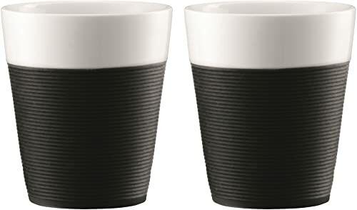 Bistro 11582-01 Bistro 2-częściowy kubek z silikonowym rękawem 0,3 l - czarny/biały