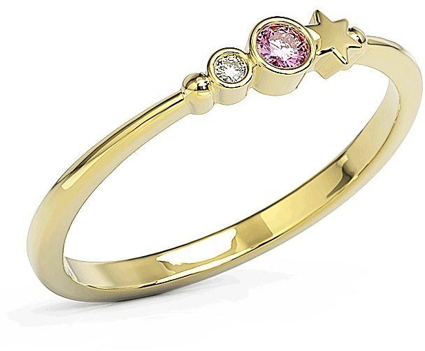 Pierścionek z żółtego złota z cyrkoniami swarovski różowy bp-6707z-c/pink