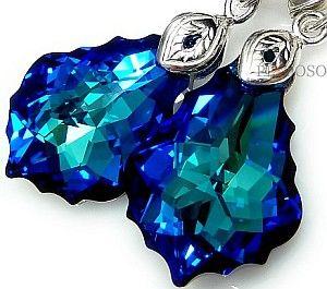 NOWE! Kryształy kolczyki BAROQUE BLUE SREBRO