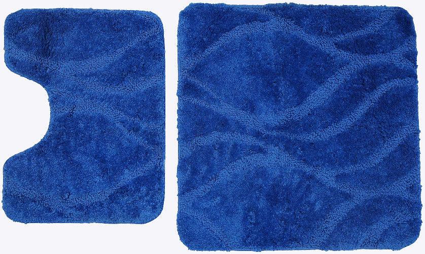 Dywaniki łazienkowe 2-częściowe niebieskie