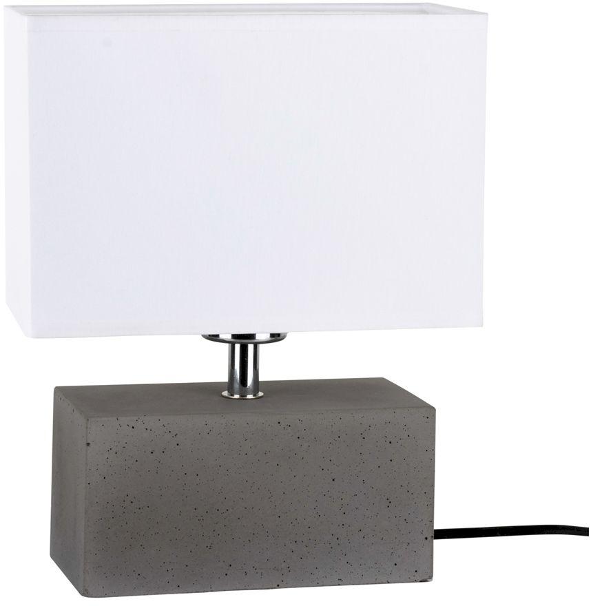 Spot Light 7381936 Strong Double lampa stołowa beton szary/czarny abażur tkanina biały 1xE27 25W 28cm