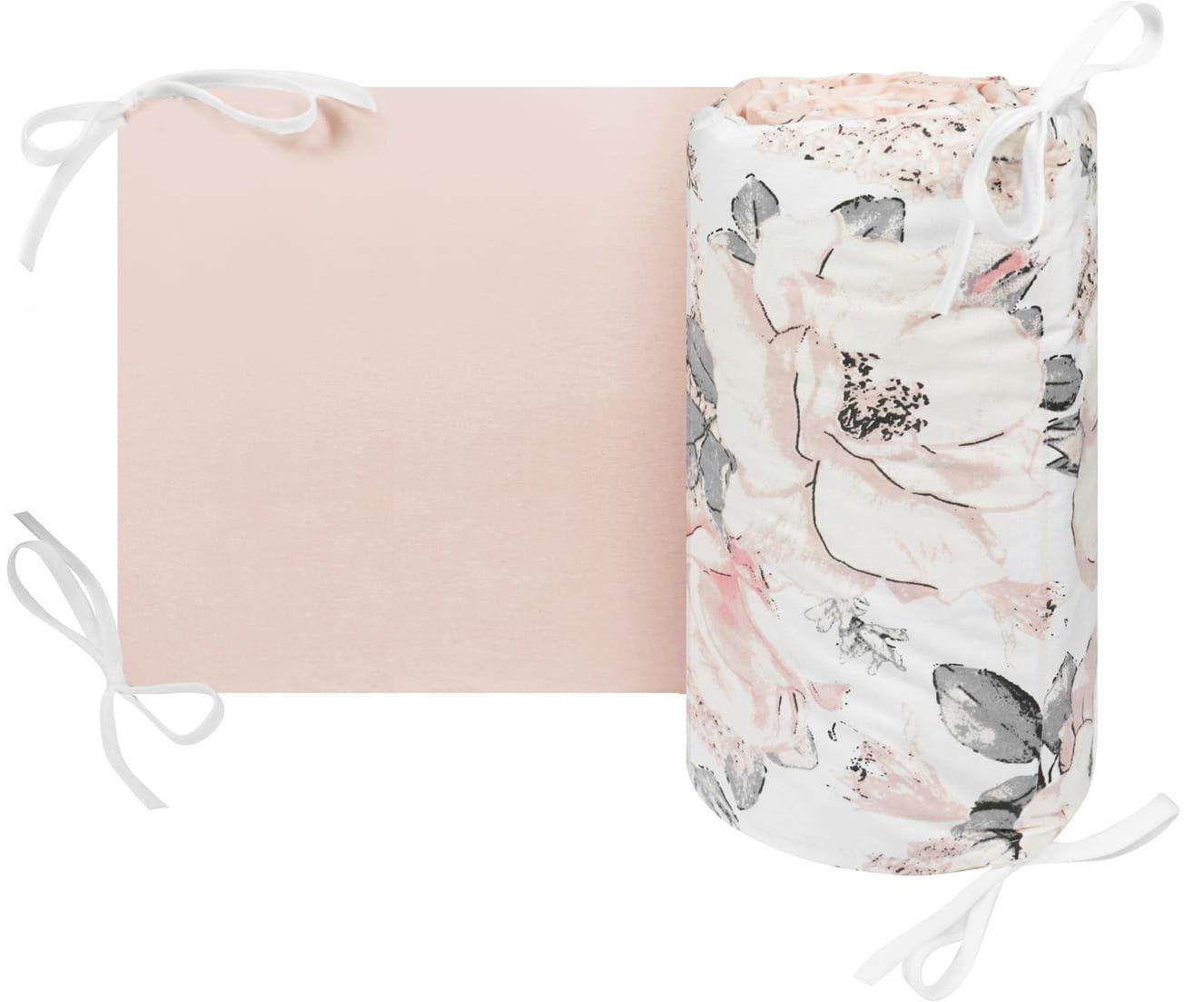 Ochraniacz, osłonka do łóżeczka flowers pink