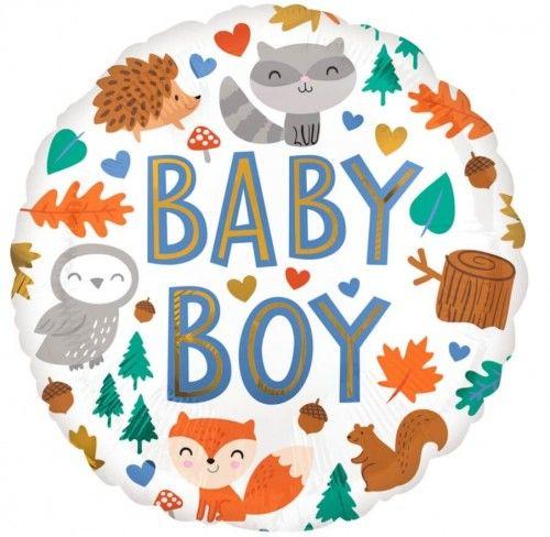 Balon foliowy WOODLAND, Zwierzęta z Lasu, Baby Boy