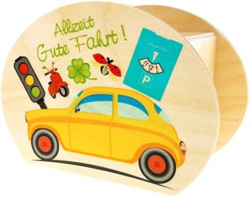 Hess drewniana zabawka 15212 - skarbonka z drewna z kluczem, dobra jazda i znak drogowy, prezent na prawo jazdy, ok. 11,5 x 8,5 x 6,5 cm