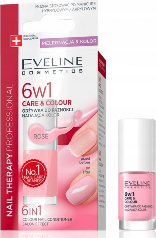 Eveline Cosmetics - NAIL THERAPY PROFESSIONAL - Colour Nail Conditioner - Odżywka do paznokci nadająca kolor 6w1