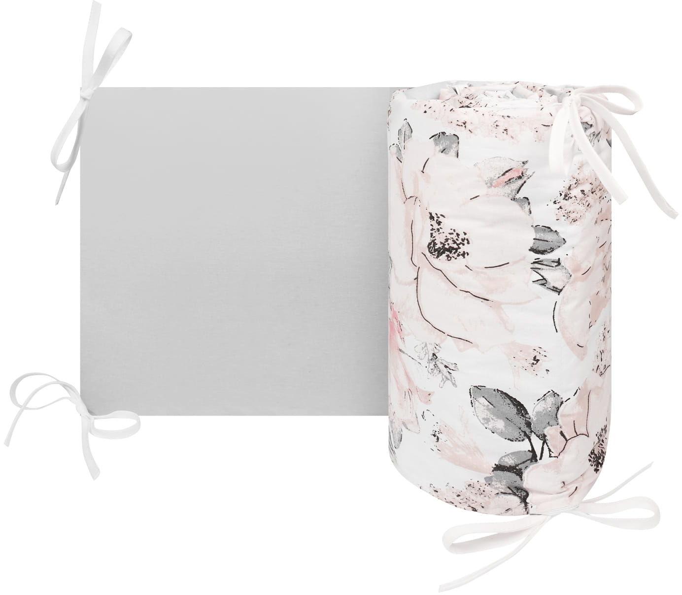 Ochraniacz, osłonka do łóżeczka flowers gray