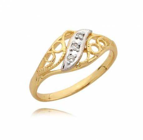 Elegancki pierścionek przekładany białym i żółtym złotem