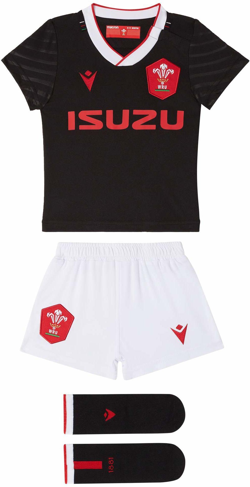 Macron Unisex Baby 58125564 Wru M20 WRU M20 koszulka z szortami i skarpetkami, alternatywny zestaw bokserski, dla dzieci, czarny, 6/9 m czarny czarny 9-12 Miesi?cy