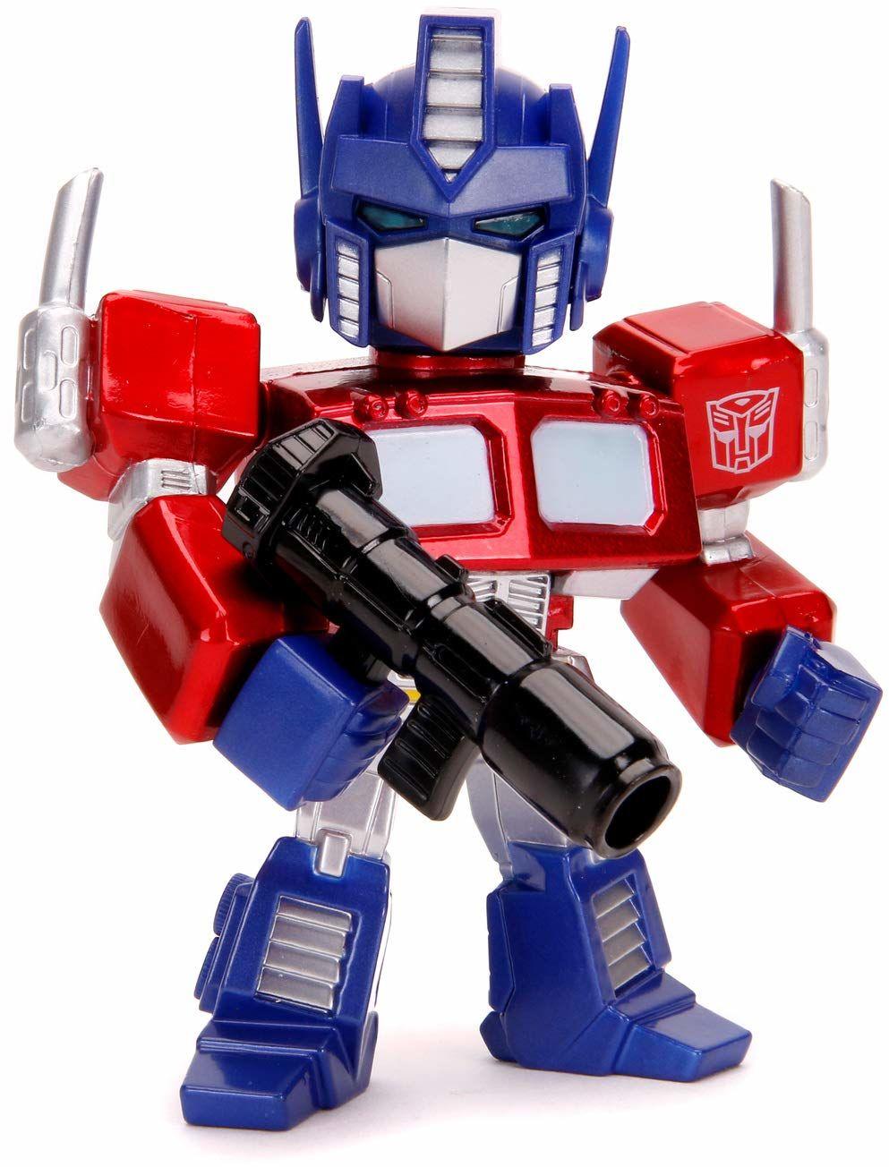 Jada Toys 253111003 Transformers, Optimus Prime figurka z Die-cast, oczy ze światłem, wraz z bateriami, akcesoriami, 10 cm, czerwony/srebrny/niebieski