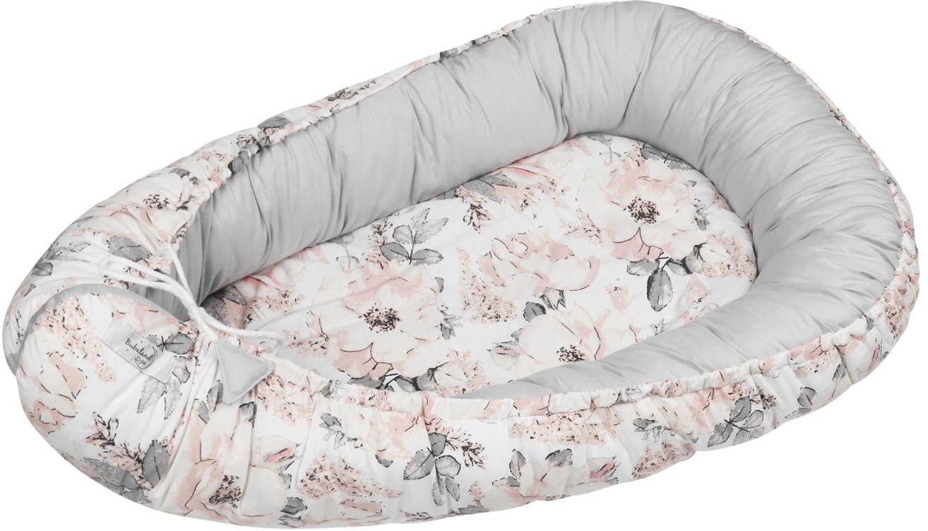 Kokon niemowlęcy / gniazdko dla noworodka - Flowers gray (zestaw materacyk + motylek)