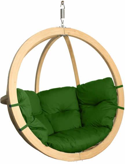 Fotel hamakowy drewniany, zielony Swing Chair Single (3)
