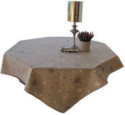 Cassa Luyton obrus w gwiazdki z obszyciem płótna, 140 x 350 cm, kamień