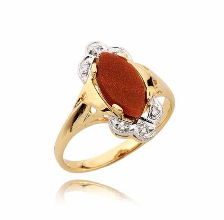 Elegancki pierścionek z kamieniem z piasku pustyni
