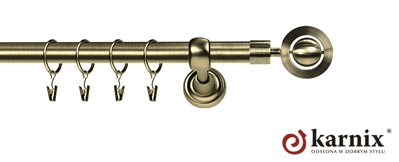 Karnisz Metalowy Rzymski pojedynczy 16mm Alpi antyk mosiądz