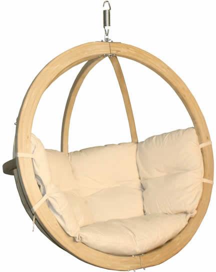 Fotel hamakowy drewniany, kremowy Swing Chair Single (3)