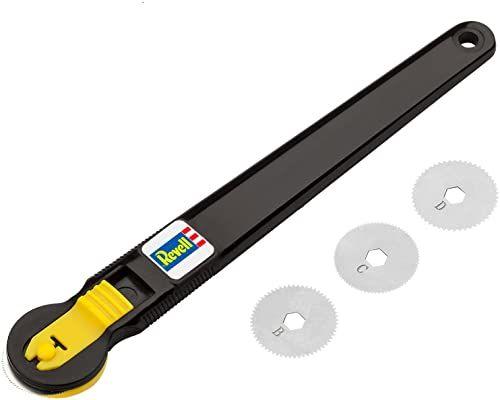 Revell 39076 narzędzie do grawerowania rzędów nitów, 4 tarcze do grawerowania z różnymi odstępami między nitami, akcesoria modelarskie i do majsterkowania, czarne, 14 cm