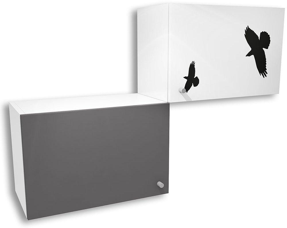 Biało-grafitowa szafka wisząca do pokoju młodzieżowego Timi 19X - 5 kolorów