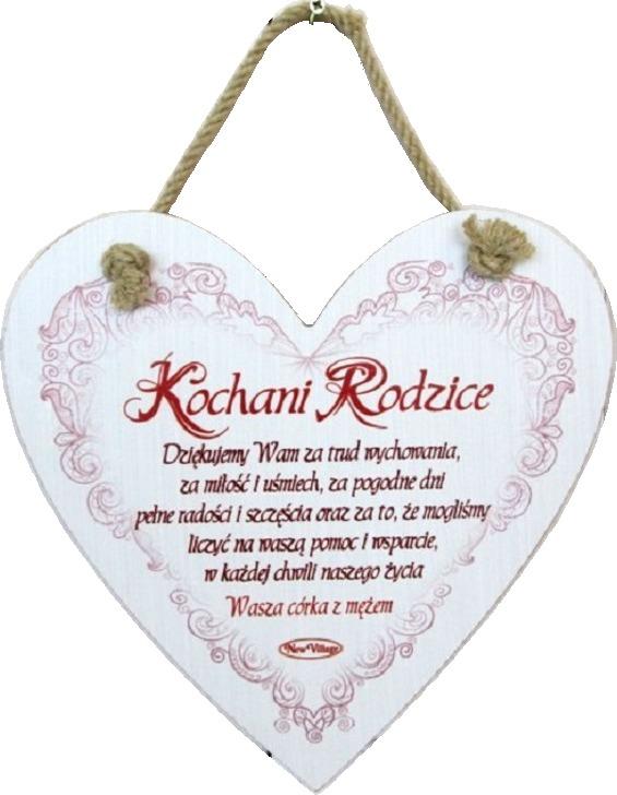 Tabliczka drewniana - Kochani rodzice Dziękujemy Wam... ...Wasza córka z mężem - serce