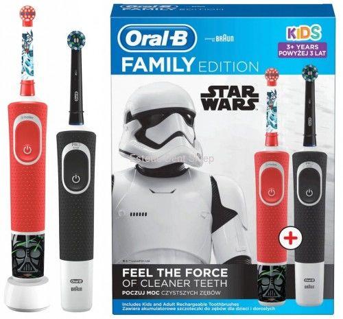 ORAL-B Star Wars FAMILY Pack - zestaw dwóch szczoteczek elektrycznych Kids Star Wars II + Vitality 100