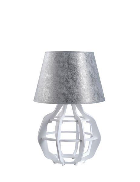 Designerska lampa stołowa BENTO 916 biały/srebrny śr. 30cm