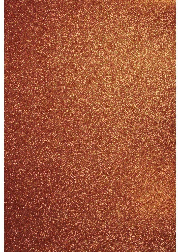 Rayher 57991210 A4 karton do majsterkowania: brokat, 210 x 297 mm, 200 g/m2, pomarańczowy