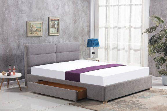 Łóżko Merida 160x200 - popielaty, do sypialni, do spania, tapicerowany zagłówek, szuflada