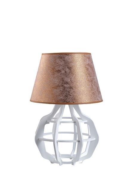 Designerska lampa stołowa BENTO 917 biały/miedź śr. 30cm