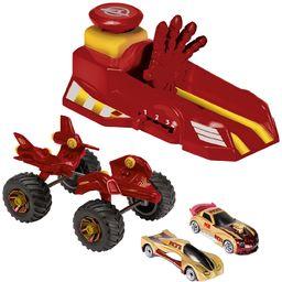 Majorette 213089790  Iron Man Action Set, Launcher z 3 prędkościami, 2 pojazdy wolnobiegowe, Monster Truck, czerwony/złoty