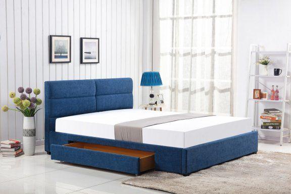 Łóżko Merida 160x200 - niebieski, do sypialni, do spania, tapicerowany zagłówek, szuflada