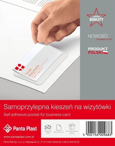 Kieszenie samoprzylepne PVC na wizytówki 60 X 100 mm PANTA PLAST - X02930