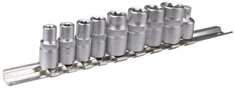 Nasadki Torx 1/4 cala 3/8 cala stal CrV (zestaw 9 szt.) 39D375
