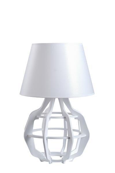 Designerska lampa stołowa BENTO 919 biały/biały połysk śr. 30cm