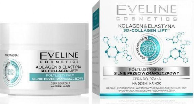 Eveline Cosmetics - 3D Collagen Lift - Półtłusty krem do twarzy o działaniu przeciwzmarszczkowym - Skóra dojrzała - 50 ml