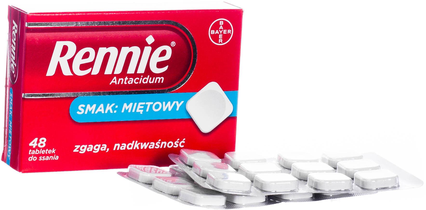 Rennie Antacidum Zgaga i nadkwaśność, 48 tabletek do ssania