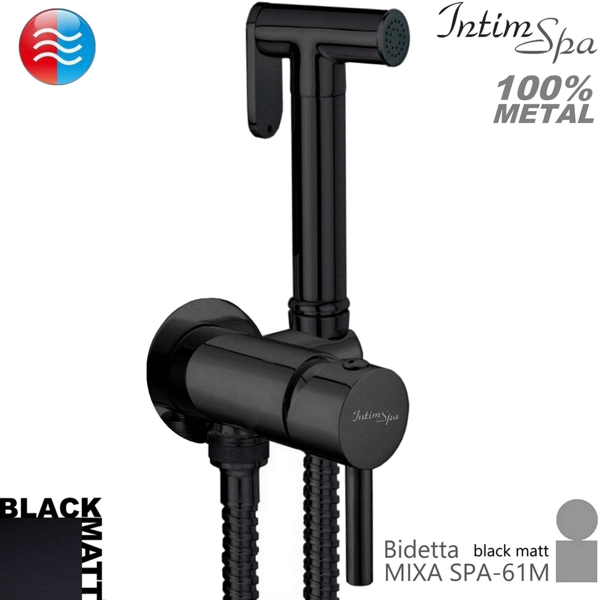 MIXA Bidetta komplet czarny mat - mieszacz, rączka 61, wąż 120, metal, podtynk. IntimSPA
