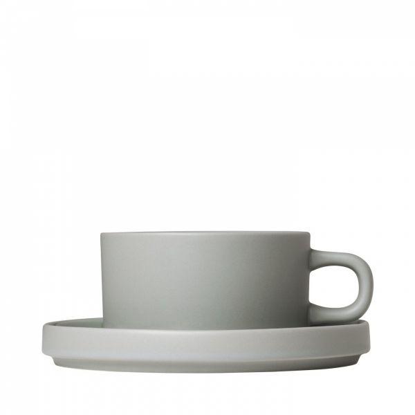 Blomus PILAR Filiżanka ze Spodkiem do Herbaty 170 ml 2 Szt. Szara Mirage Grey