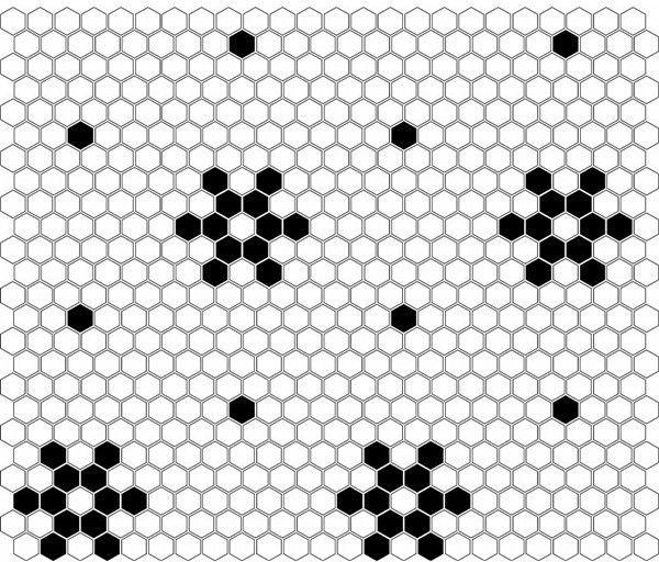 Mini Hexagon B&W Snow 26x30