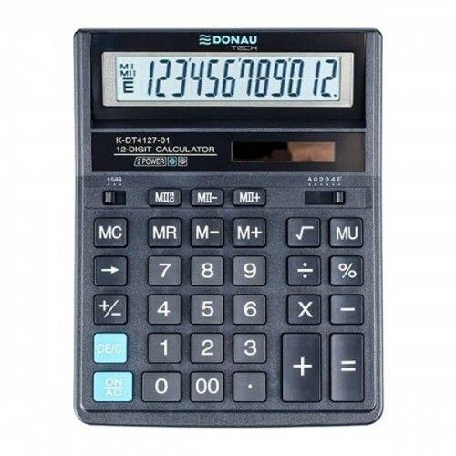 Kalkulator 12 pozycyjny DONAU TECH K-DT4127-01 203x158x31mm czarny /K-DT4127-01/