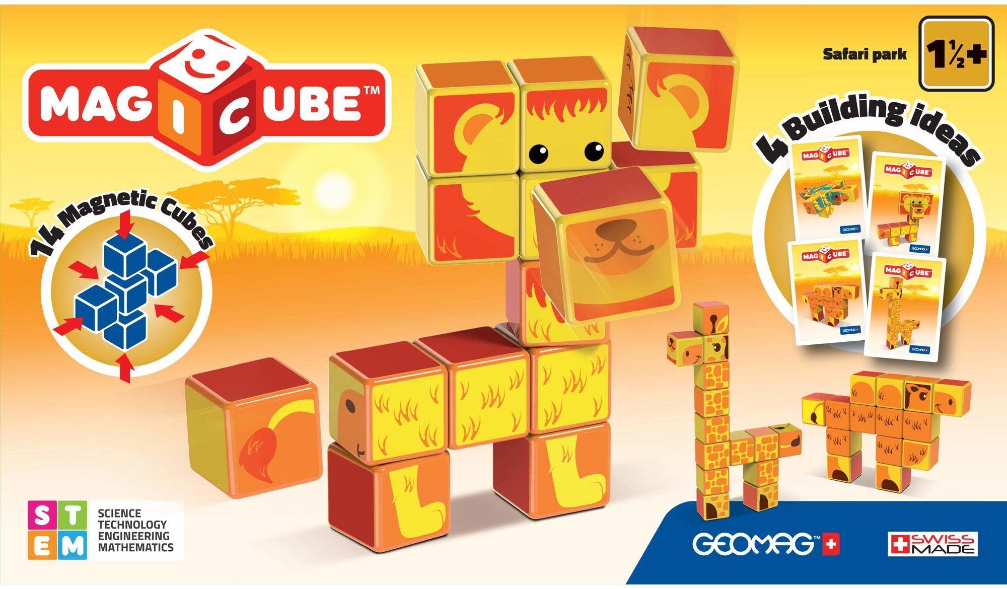 Geomag- Safari Park Magicube Magnetic Cubes, wielokolorowe, PF.331.135.00
