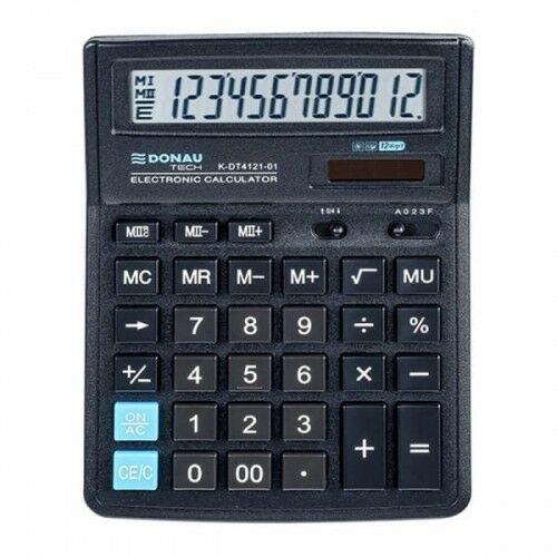 Kalkulator 12 pozycyjny DONAU TECH K-DT4121-01 199x153x31mm czarny /K-DT4121-01/