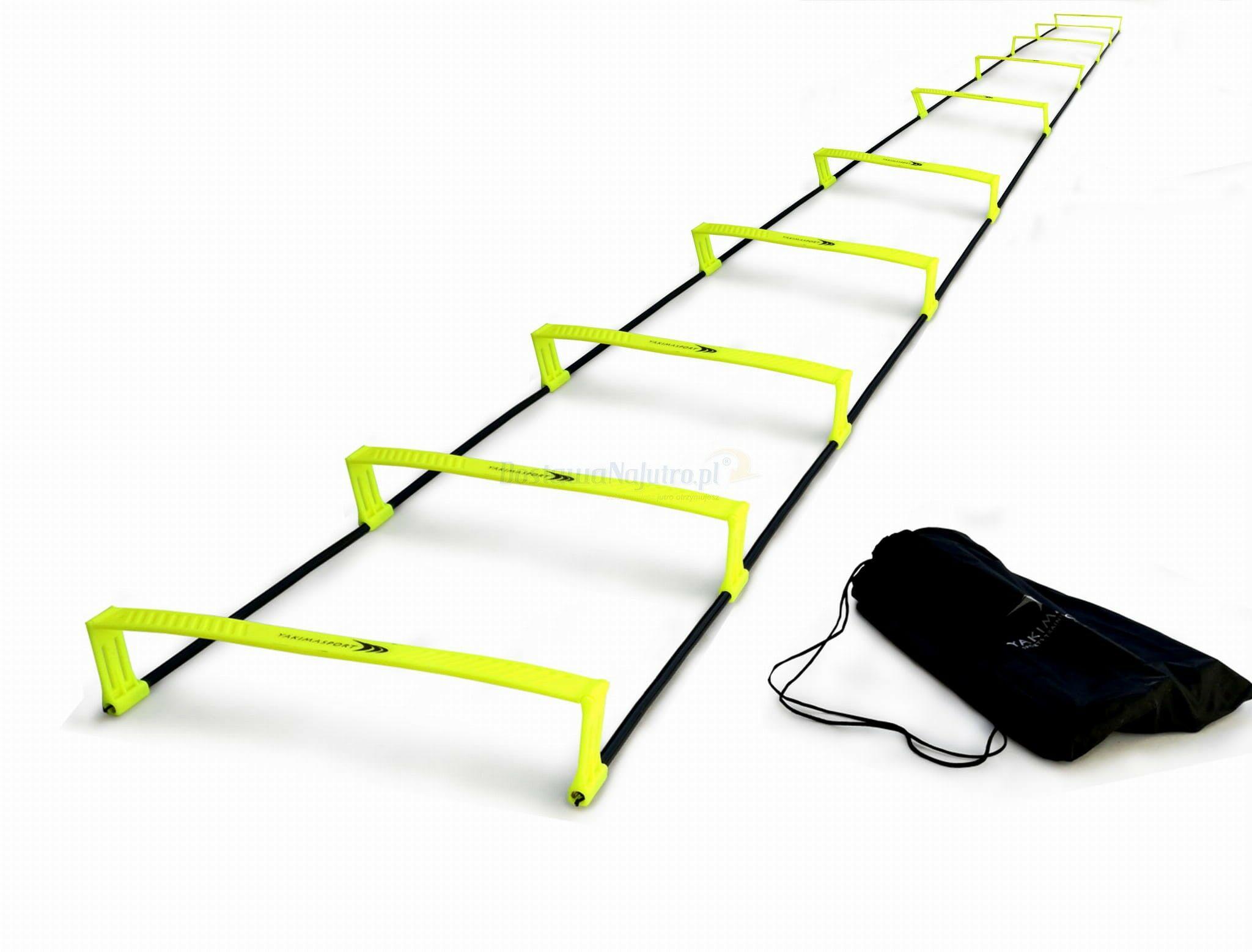 Drabinka koordynacyjna 2w1 podwyższana 10 stopni płotki do treningu