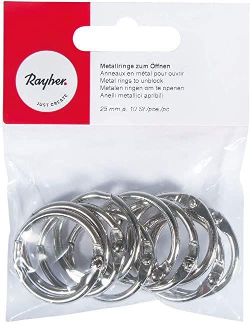 Rayher 2520400 metalowe pierścienie do otwierania, 25 mm ø wewnętrzne, bezniklowe, SB-Btl. 10 sztuk