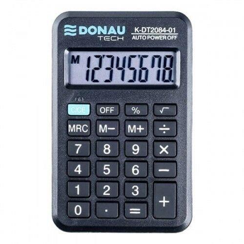 Kalkulator kieszonkowy 8 pozycyjny DONAU TECH K-DT2084-01 97x60x11mm czarny /K-DT2084-01/