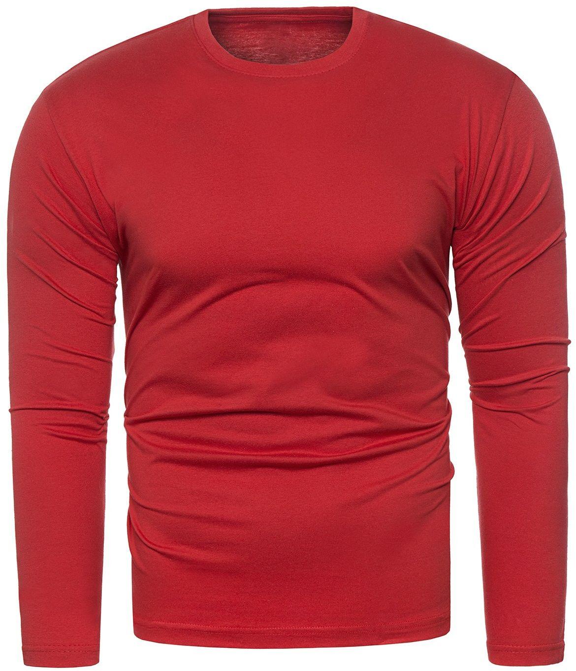Bluza męska longsleeve N01L - czerwona