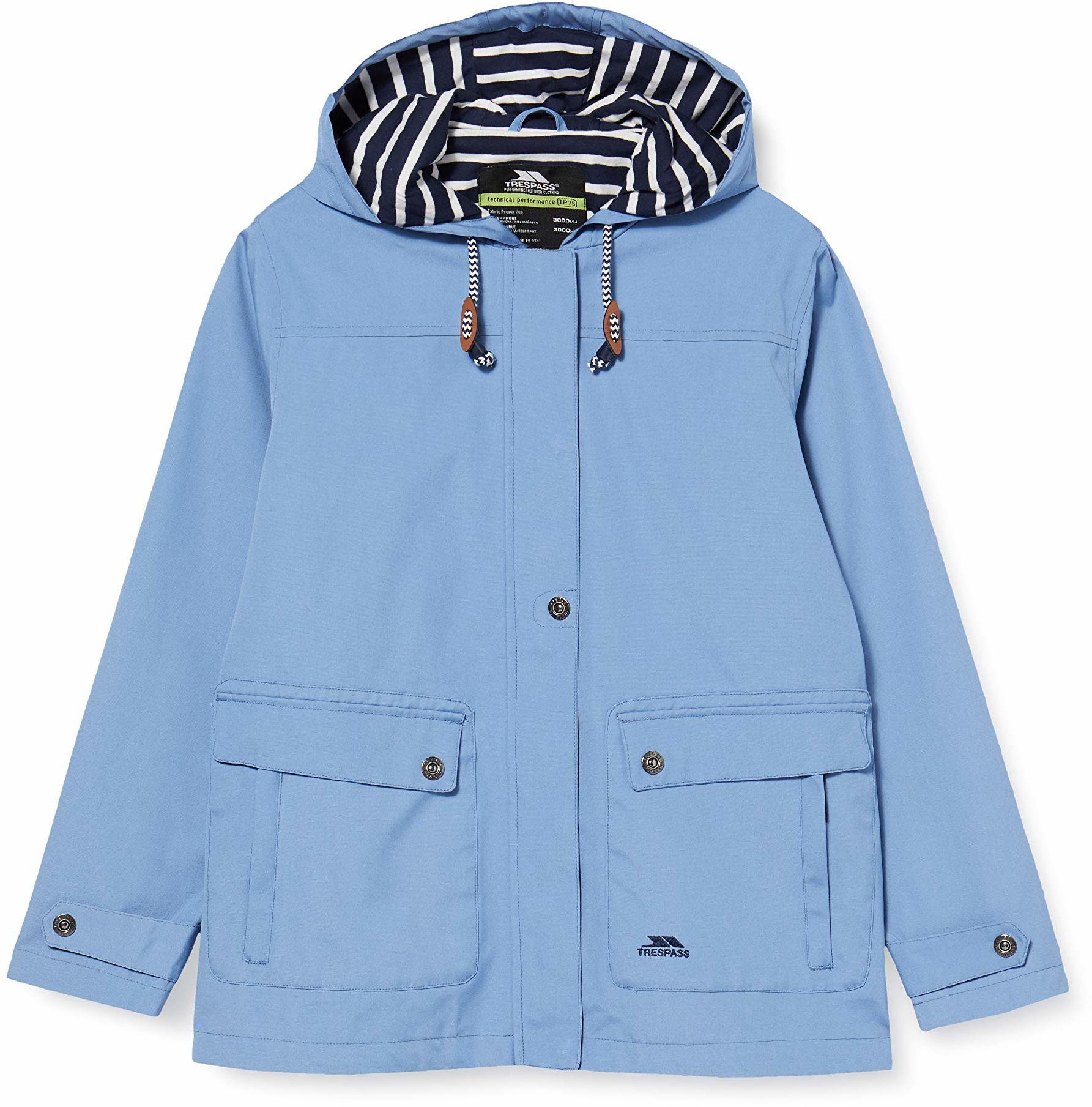 Trespass Wodoodporna kurtka przeciwdeszczowa damska z ukrytym kapturem niebieski (Denim Blue) XXS